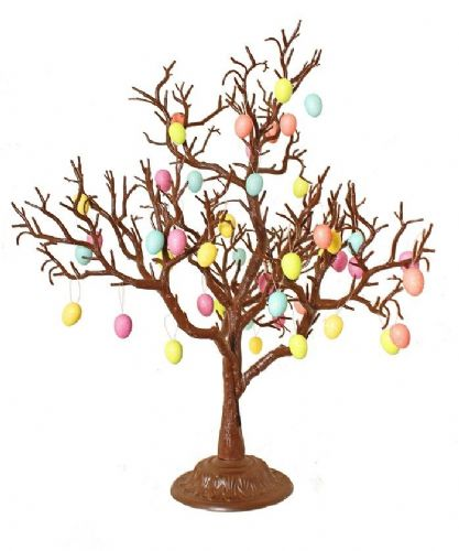 Chocolate Brown Easter Twig Tree with Vibrant Easter Egg Decorations